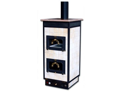 Masonry thermo stoves with food-burning oven